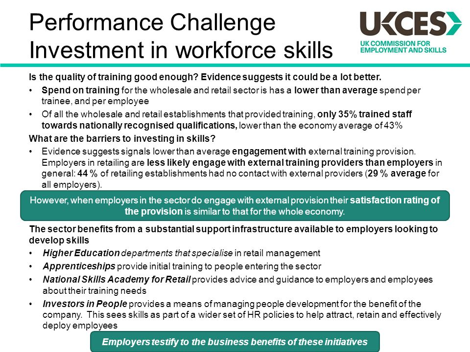 Performance Challenge Investment in workforce skills