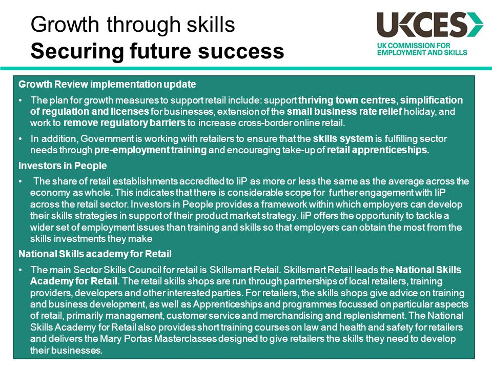 Growth through skills Securing future success