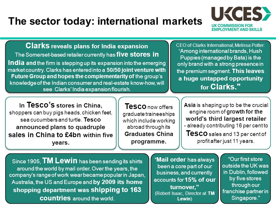 The sector today: international markets