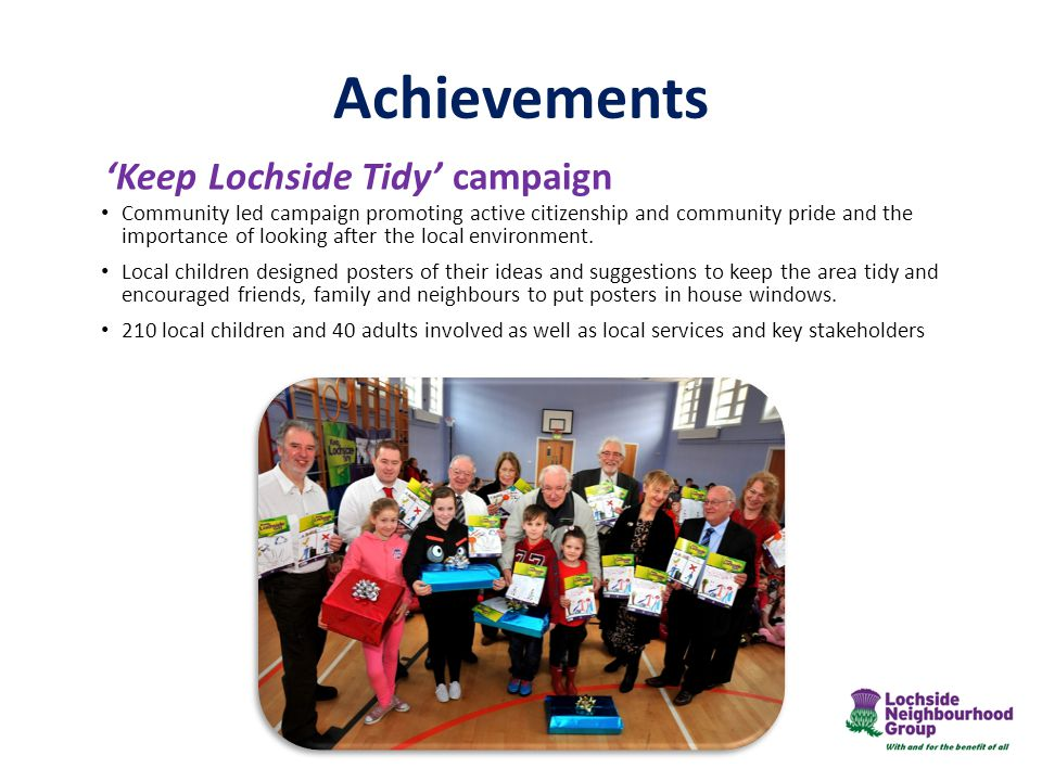 Achievements 'Keep Lochside Tidy' campaign