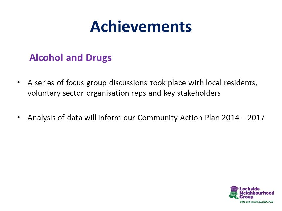 Achievements Alcohol and Drugs