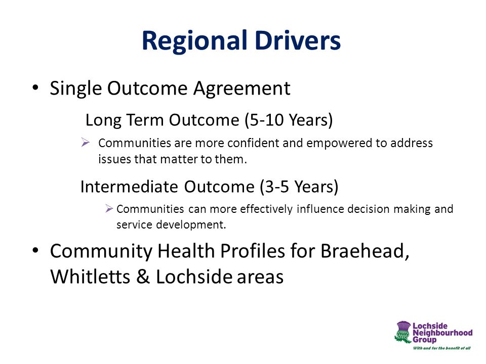 Regional Drivers Single Outcome Agreement