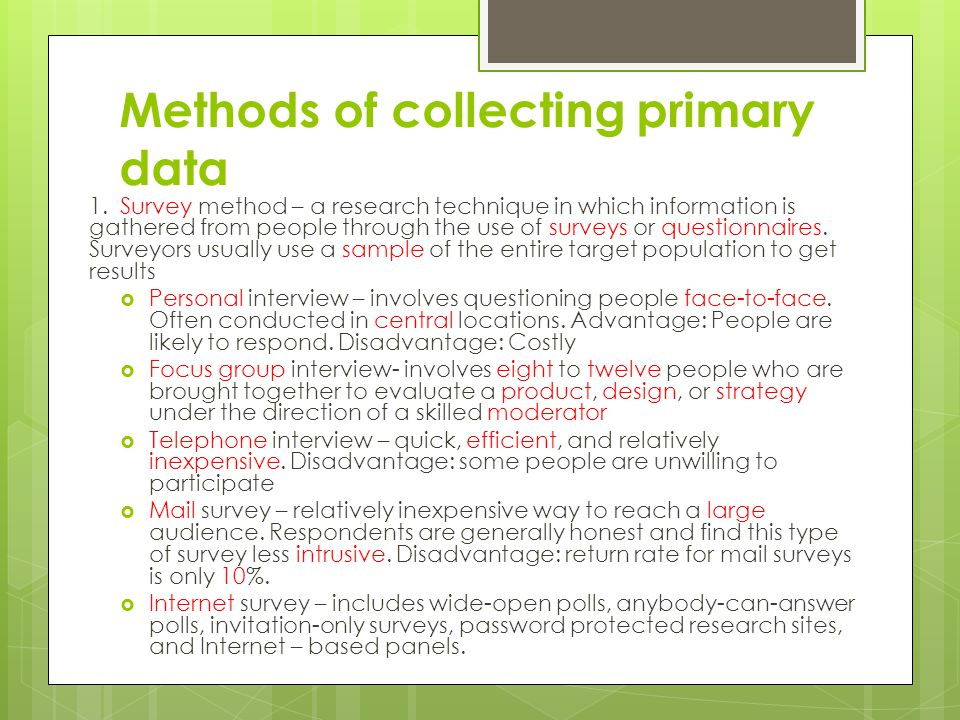 Methods of collecting primary data
