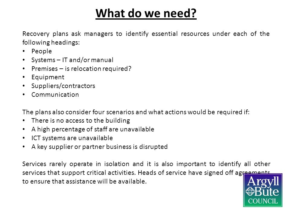 What do we need Recovery plans ask managers to identify essential resources under each of the following headings: