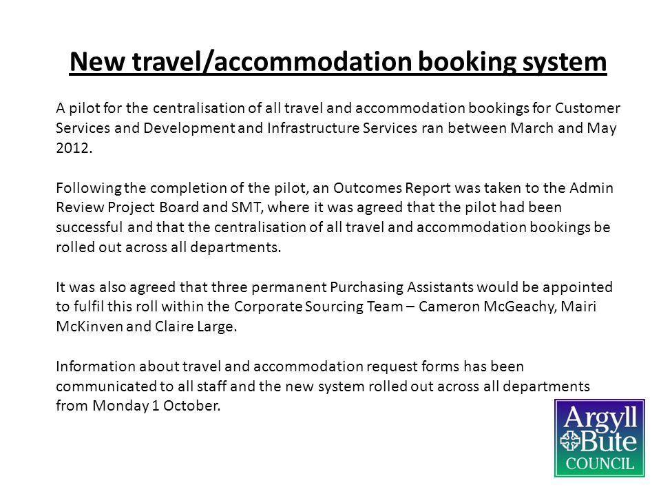 New travel/accommodation booking system