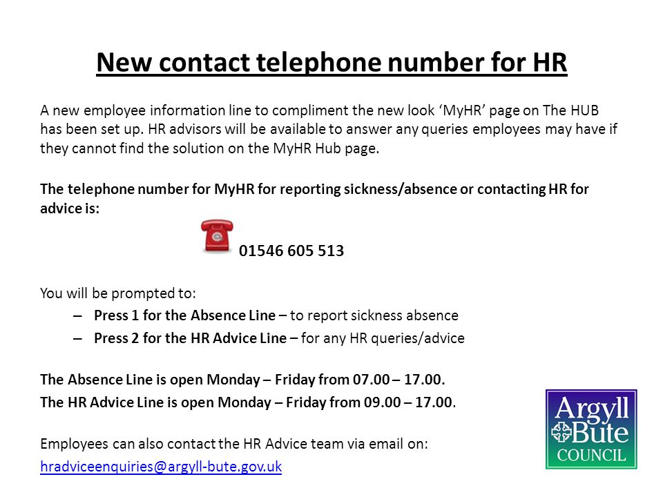 New contact telephone number for HR