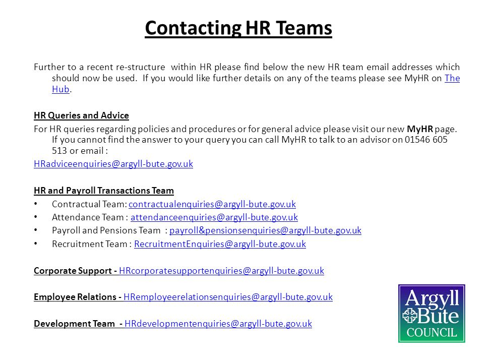 Contacting HR Teams