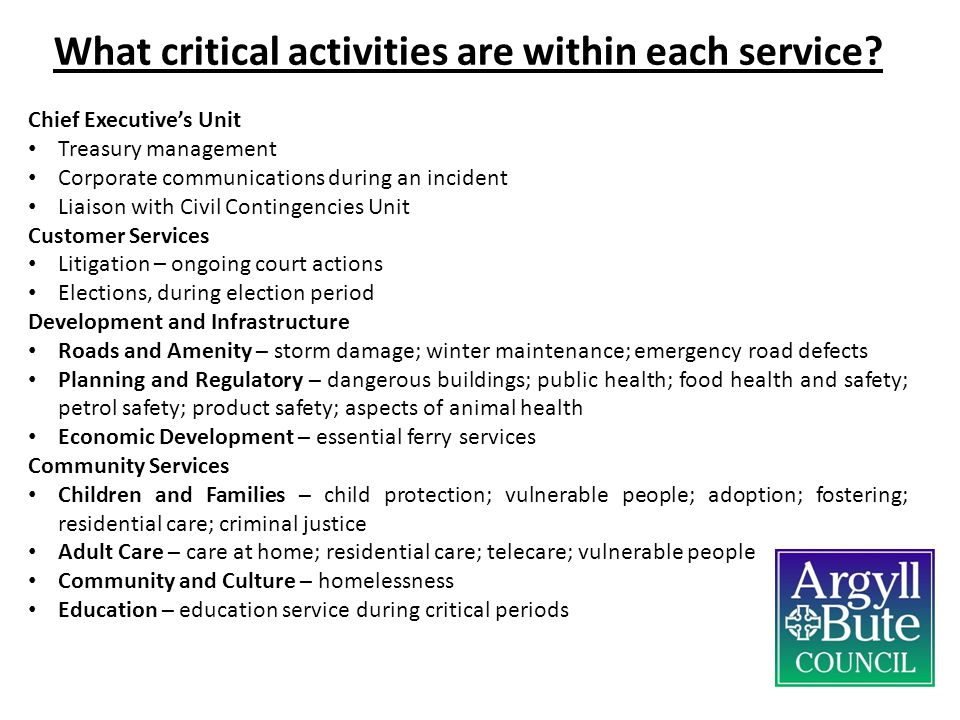 What critical activities are within each service