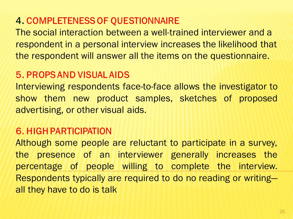 4. COMPLETENESS OF QUESTIONNAIRE