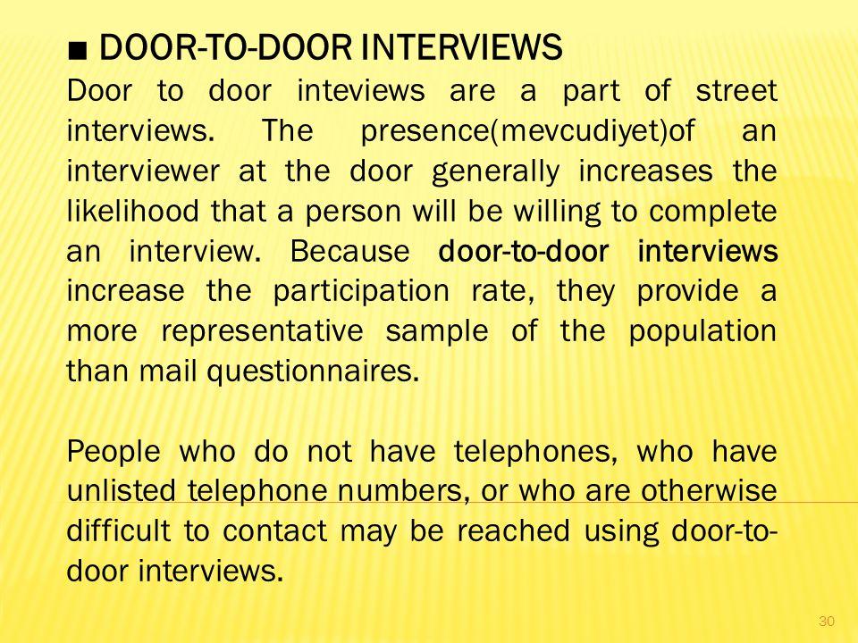 ■ DOOR-TO-DOOR INTERVIEWS