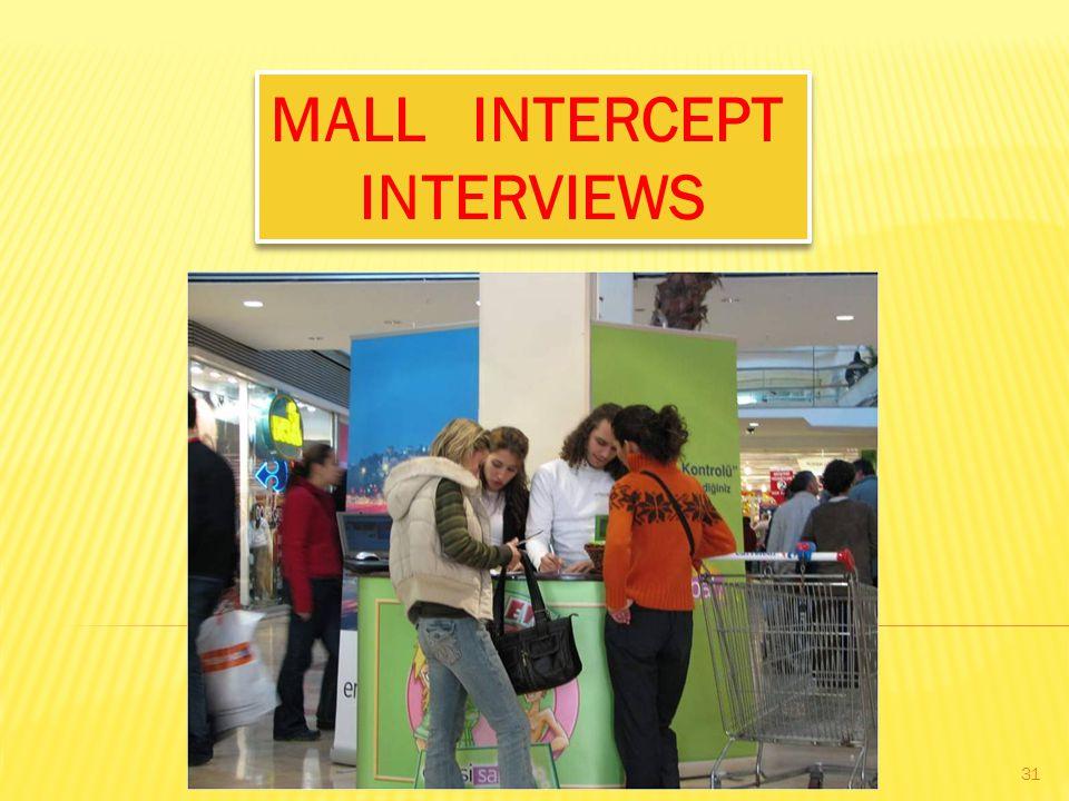 MALL INTERCEPT INTERVIEWS
