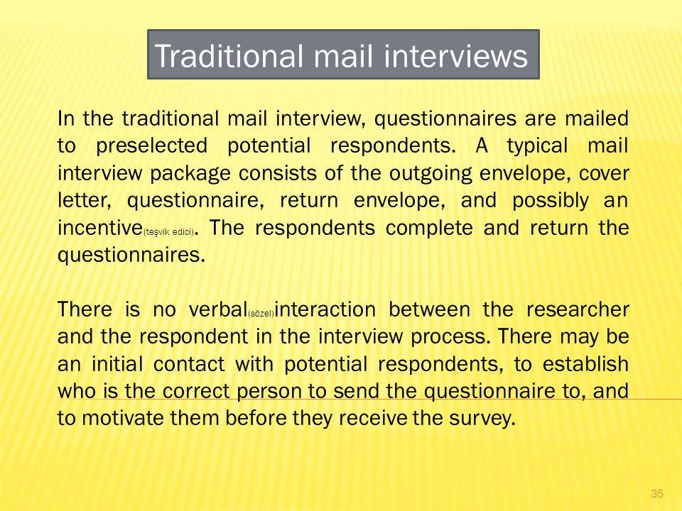 Traditional mail interviews