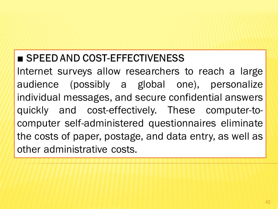 ■ SPEED AND COST-EFFECTIVENESS