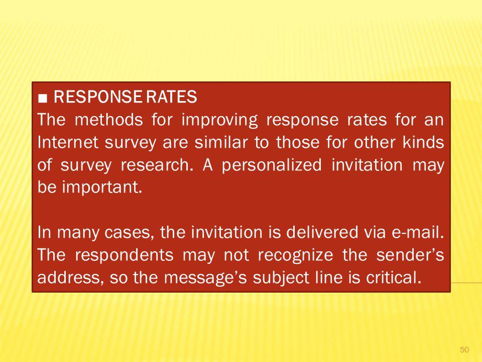 ■ RESPONSE RATES