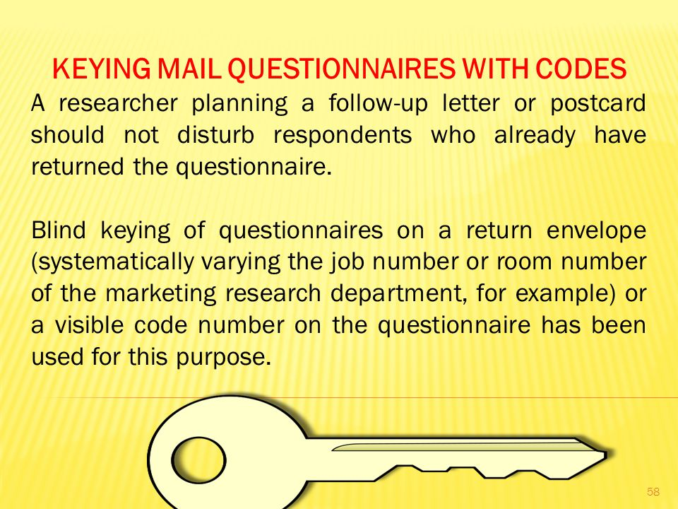 KEYING MAIL QUESTIONNAIRES WITH CODES