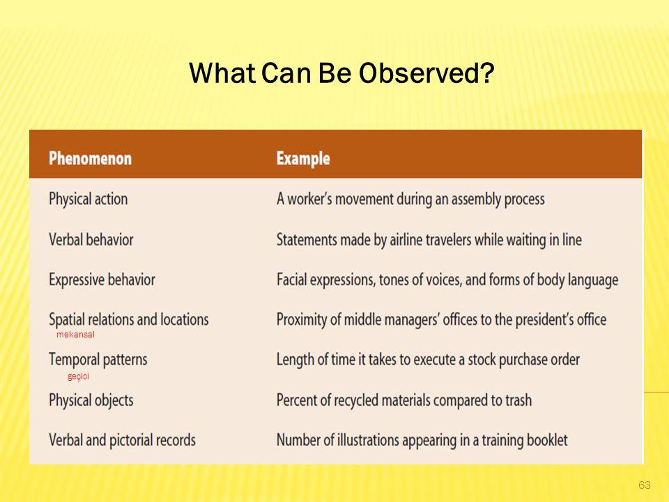 What Can Be Observed mekansal geçici