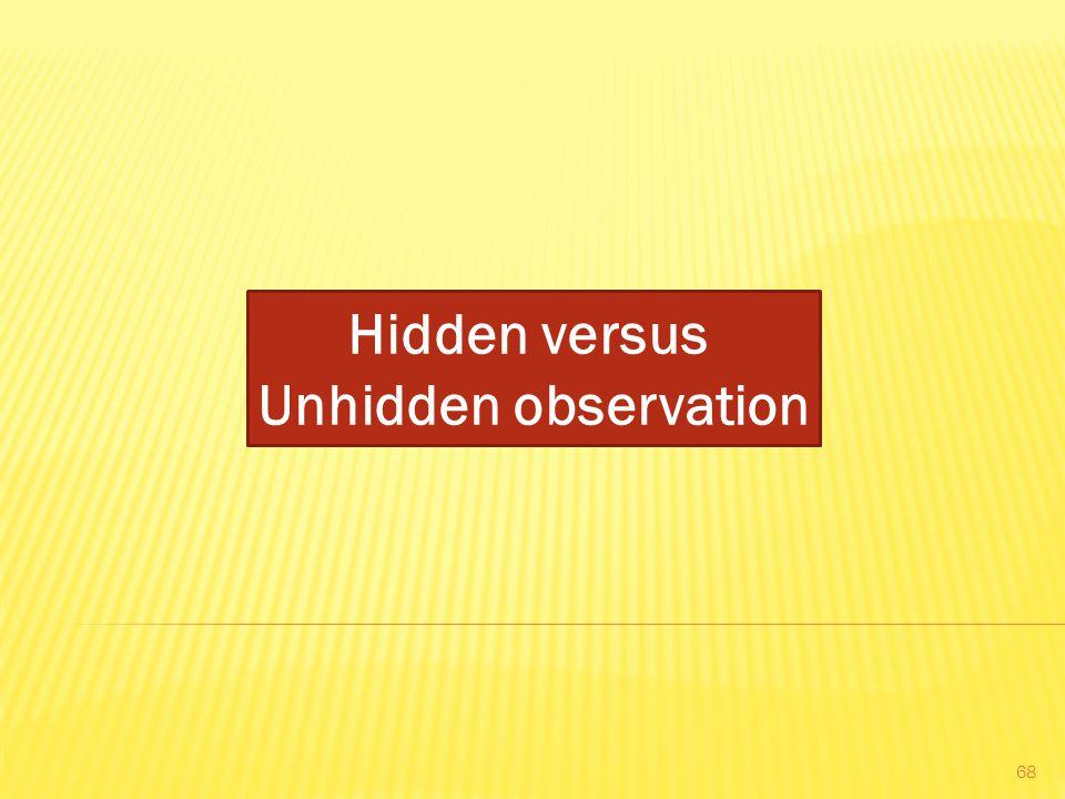 Hidden versus Unhidden observation