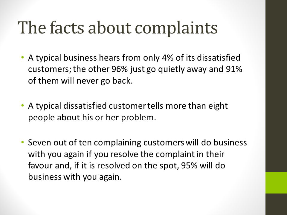 The facts about complaints
