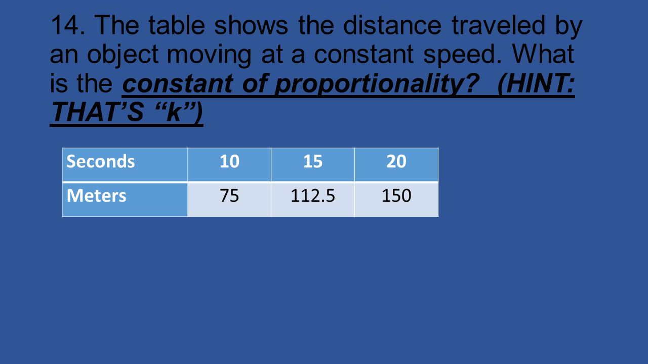 14. The table shows the distance traveled by an object moving at a constant speed. What is the constant of proportionality (HINT: THAT'S k )
