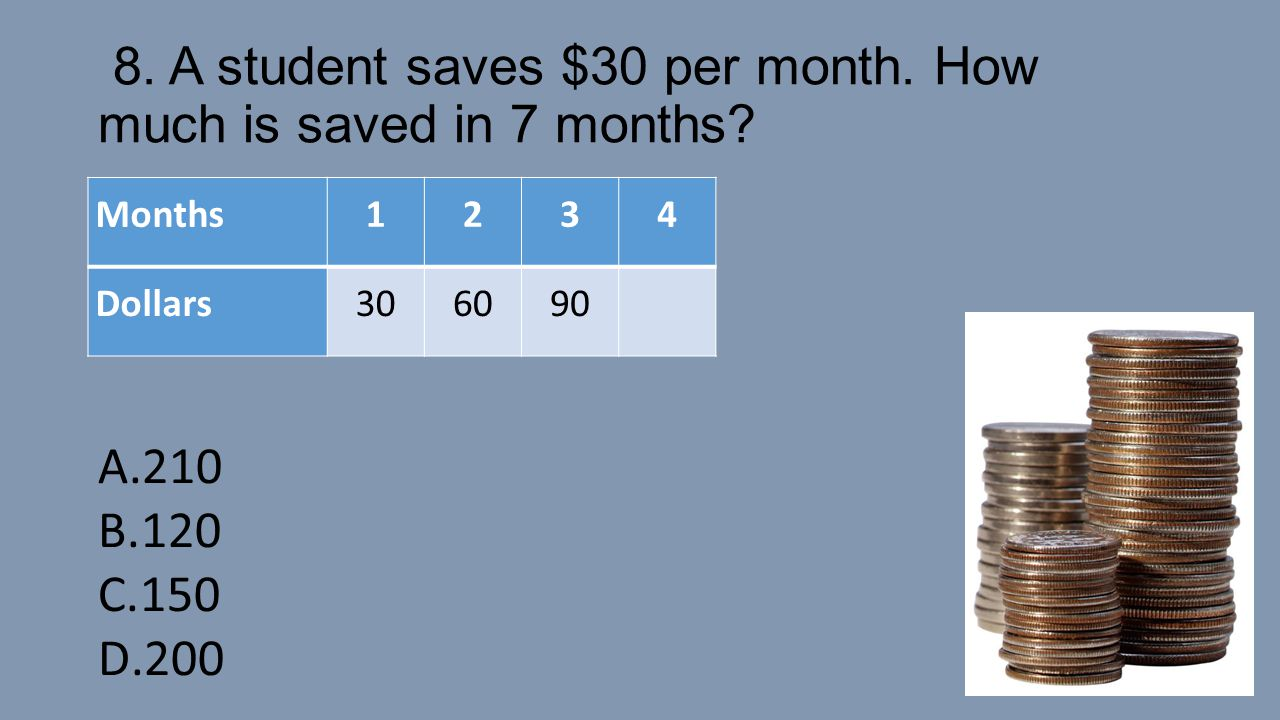8. A student saves $30 per month. How much is saved in 7 months