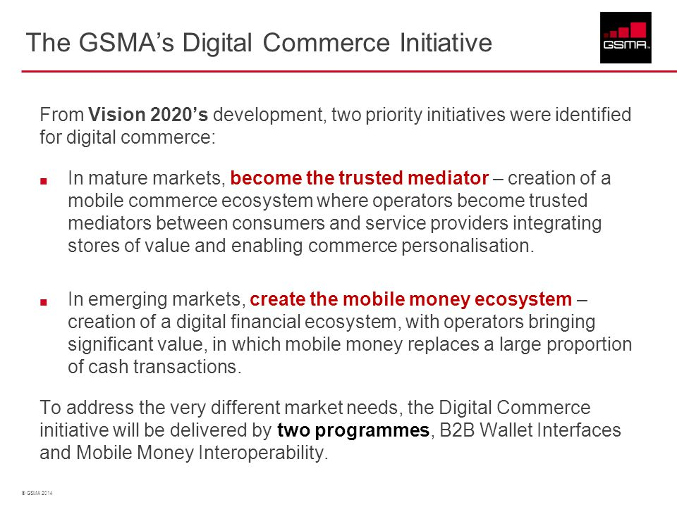 The GSMA's Digital Commerce Initiative