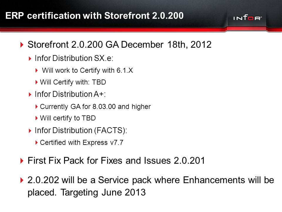 ERP certification with Storefront 2.0.200