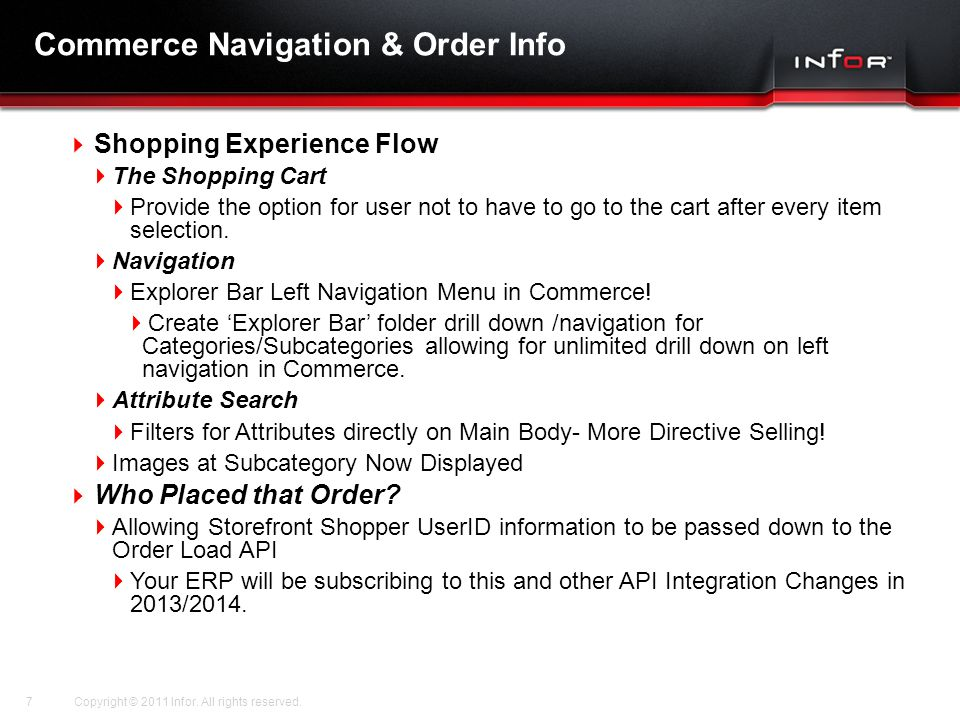 Commerce Navigation & Order Info