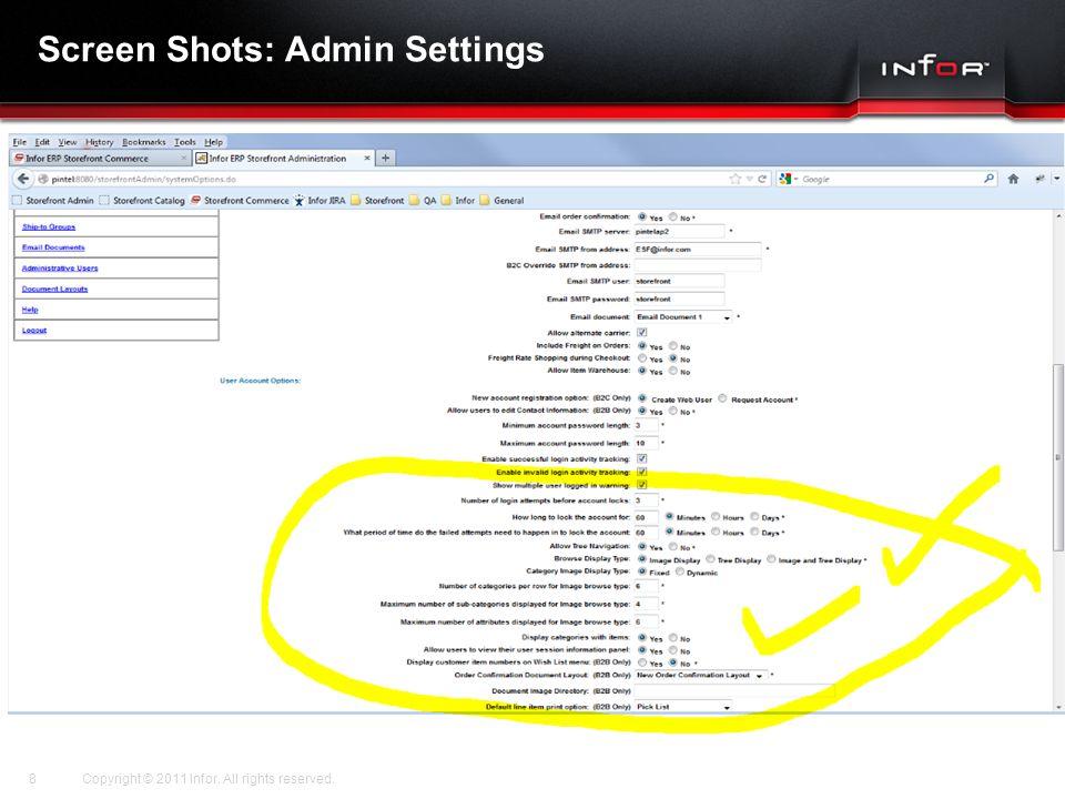 Screen Shots: Admin Settings