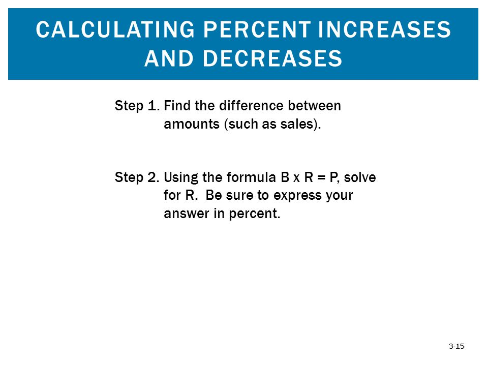 Calculating Percent increases and decreases