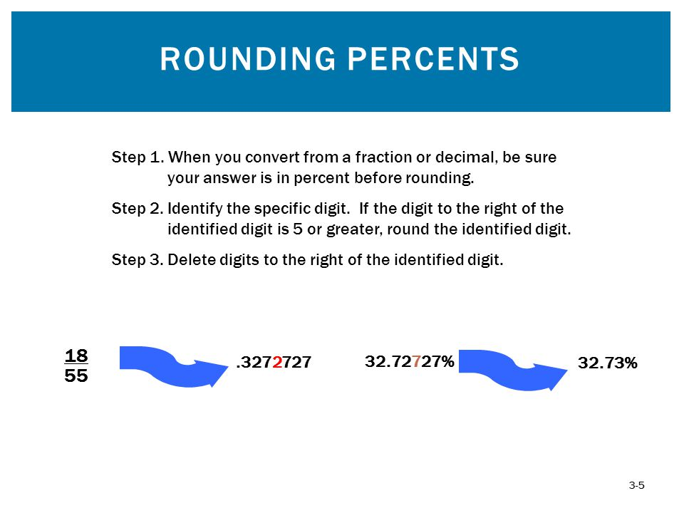 Rounding Percents Step 1. When you convert from a fraction or decimal, be sure your answer is in percent before rounding.