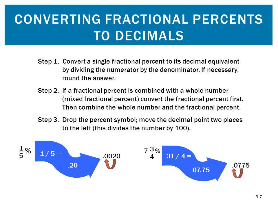 Converting Fractional Percents to Decimals