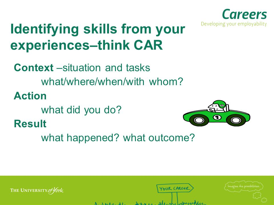 Identifying skills from your experiences–think CAR