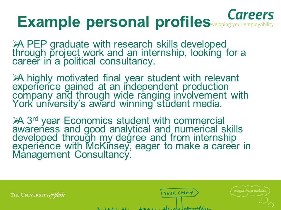Example personal profiles