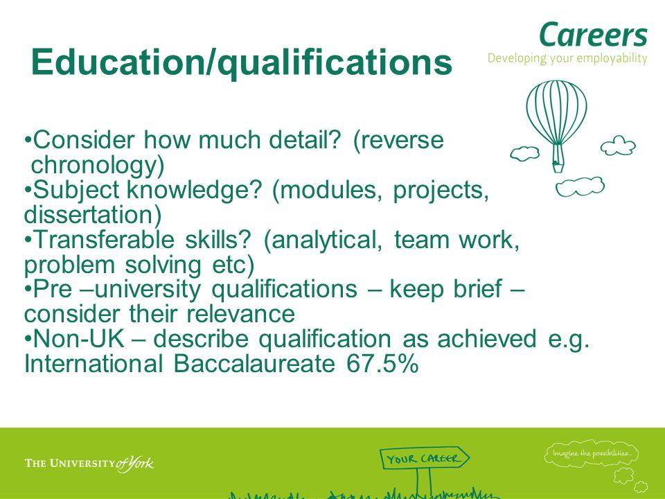Education/qualifications