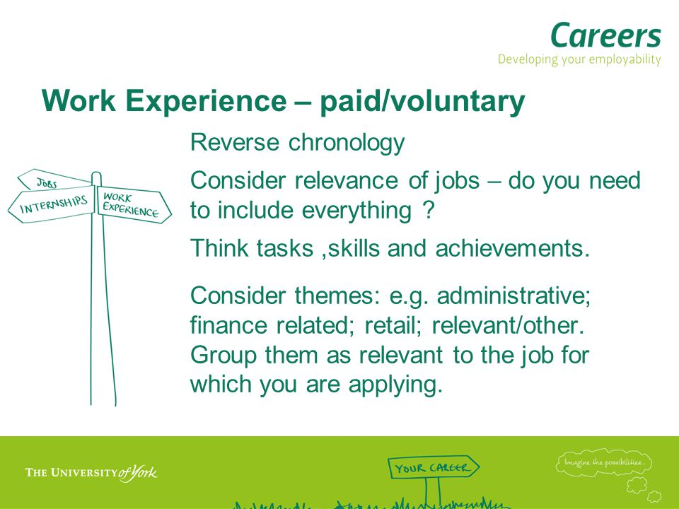 Work Experience – paid/voluntary
