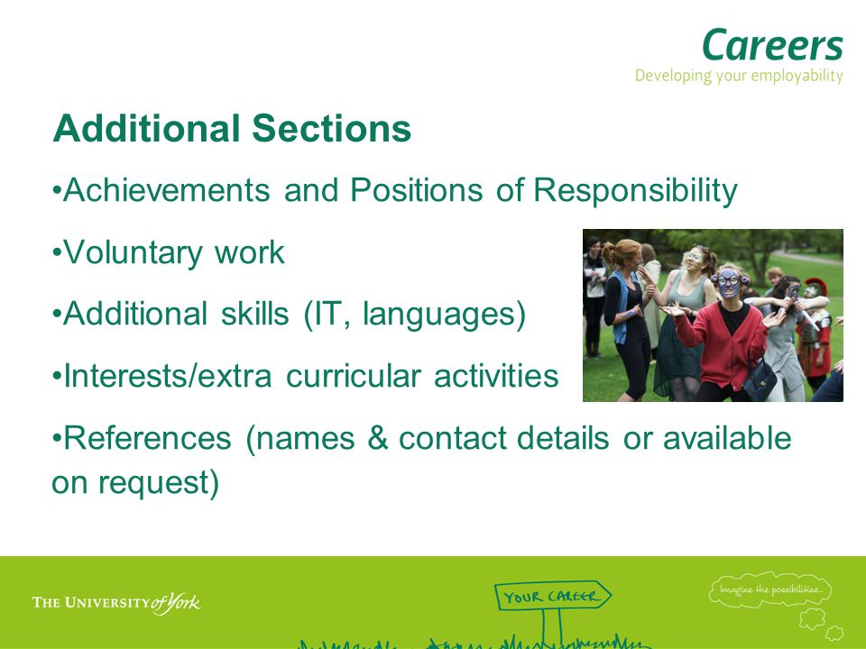 Additional Sections Achievements and Positions of Responsibility