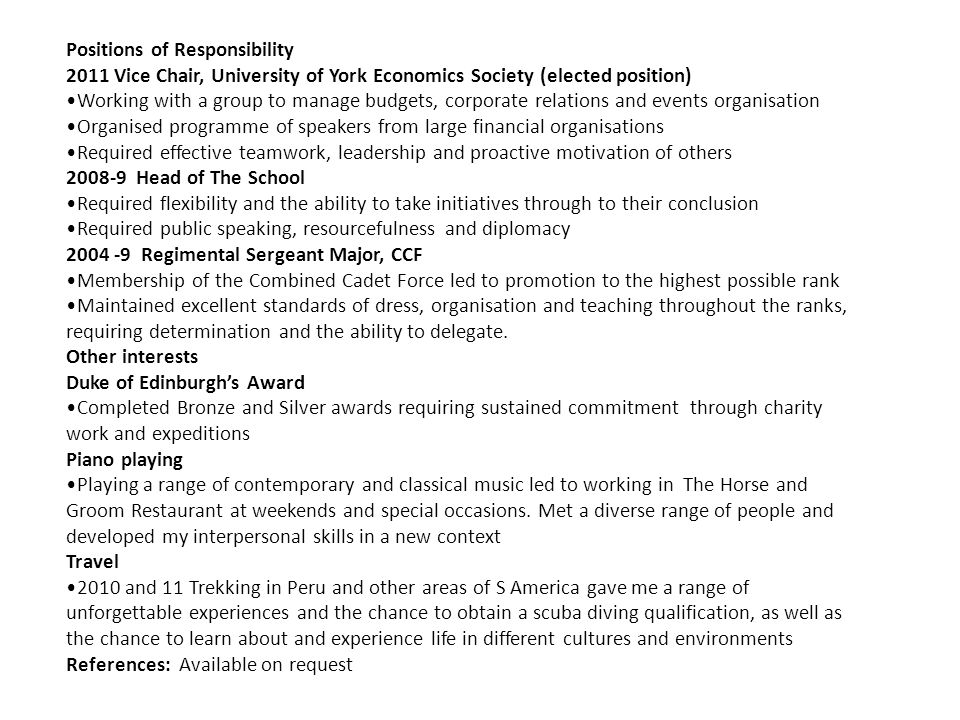 Positions of Responsibility