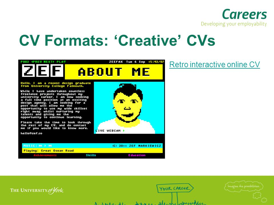 CV Formats: 'Creative' CVs