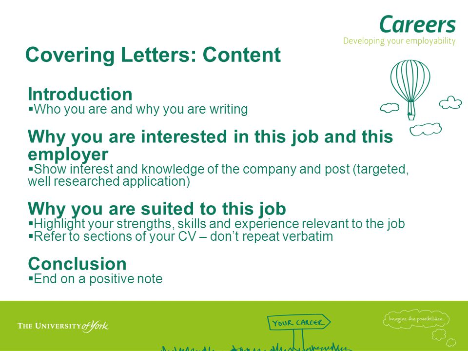 Covering Letters: Content