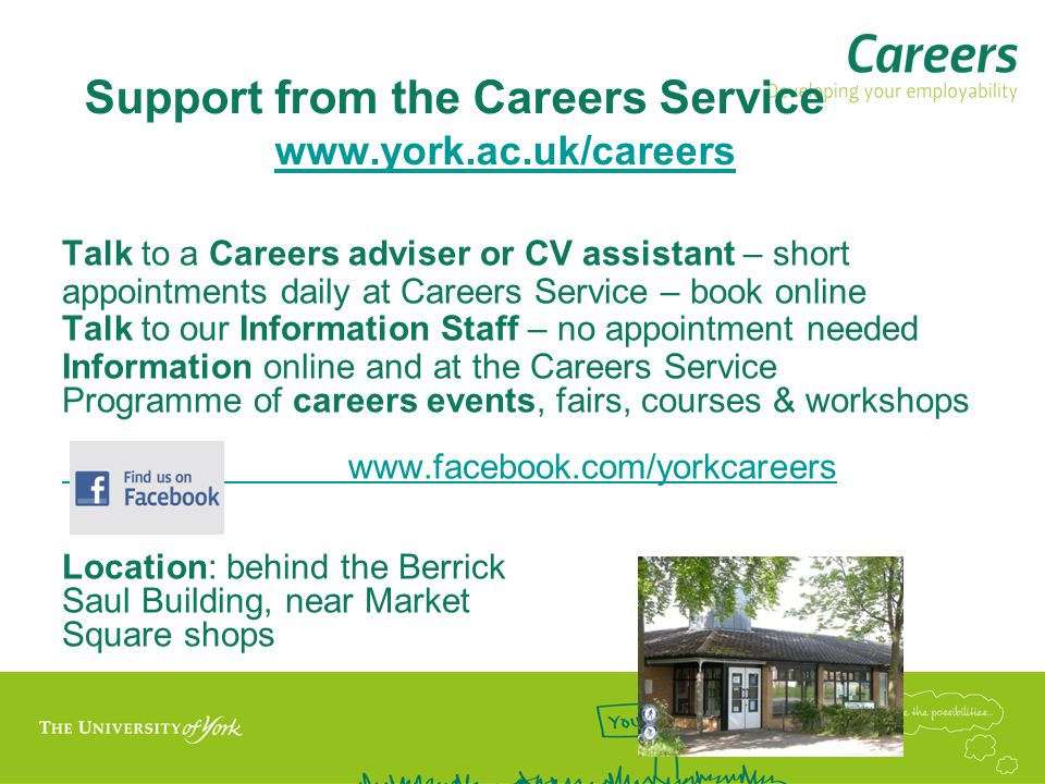 Support from the Careers Service www.york.ac.uk/careers