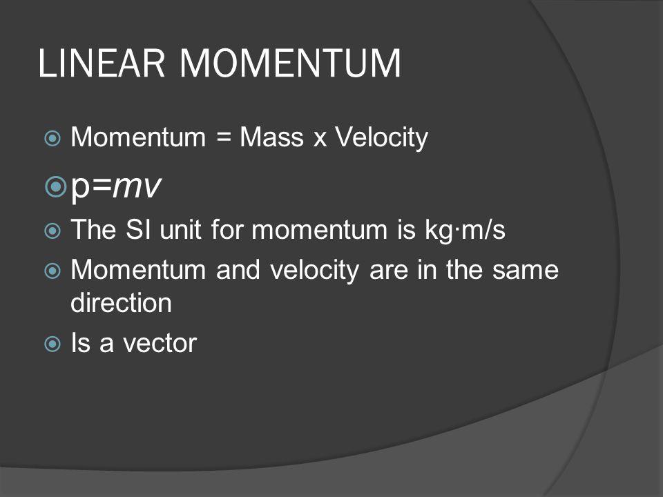 LINEAR MOMENTUM p=mv Momentum = Mass x Velocity