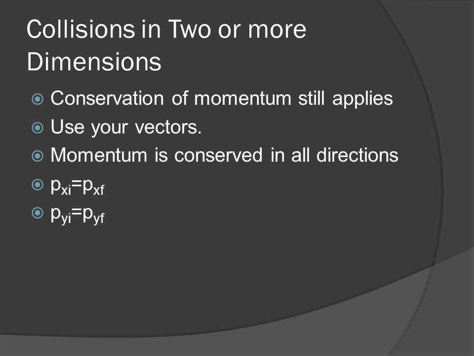 Collisions in Two or more Dimensions
