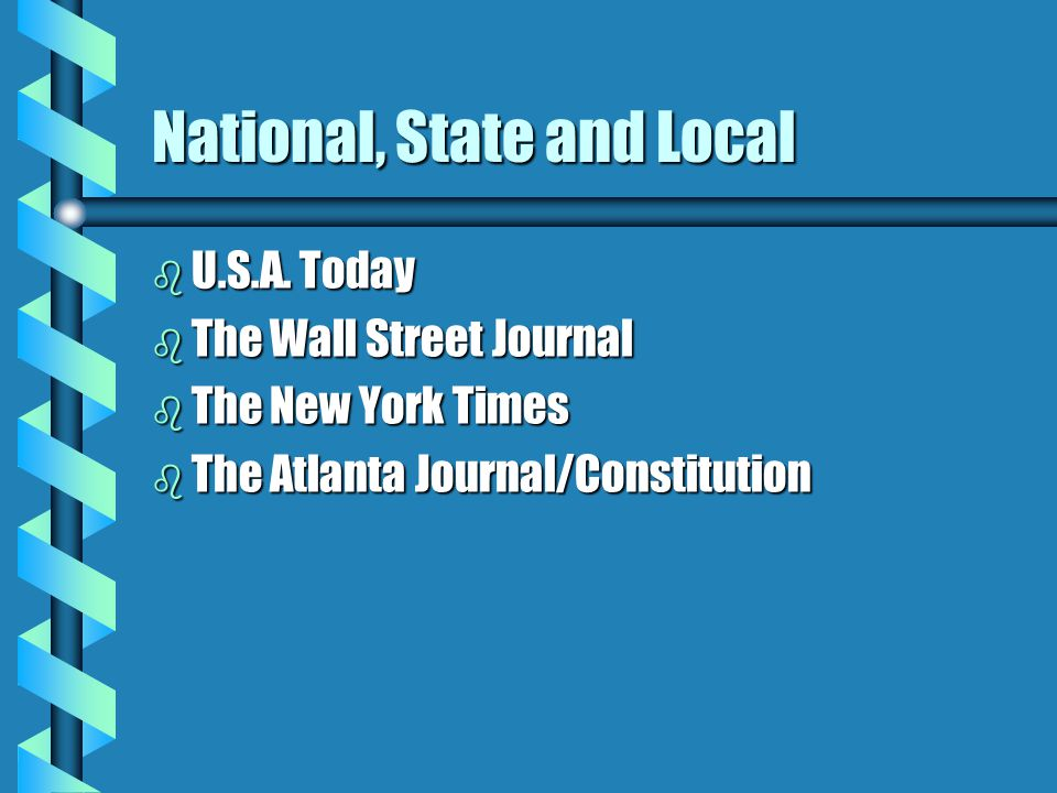 National, State and Local