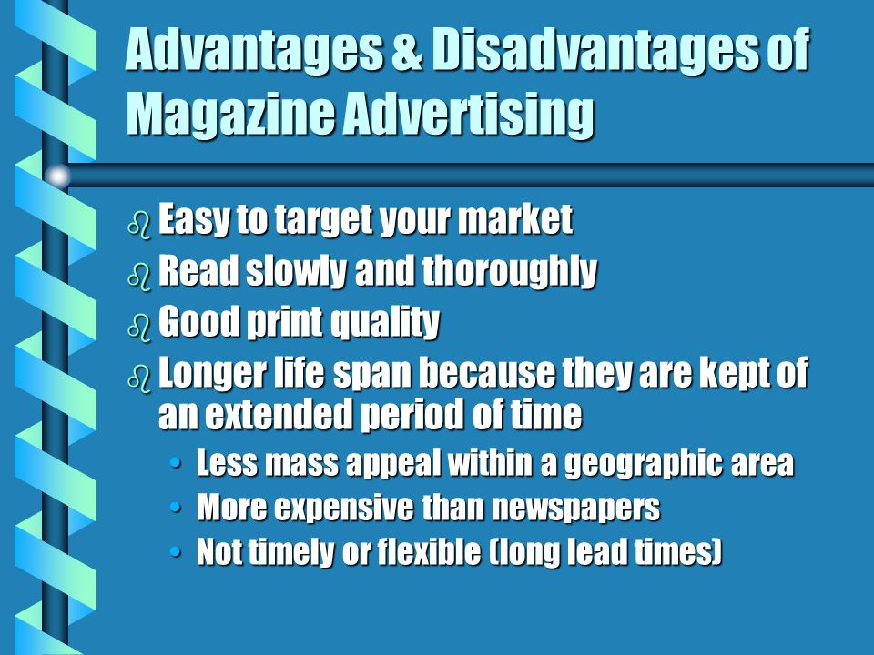 advantage and disadvantage of advertisement Advantages of newspaper advertising: while advertising mediums continue to expand with technology, newspapers remain the most trusted and reputable source.