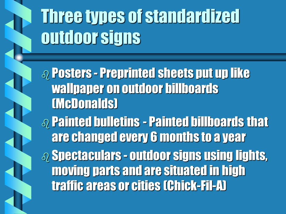 Three types of standardized outdoor signs
