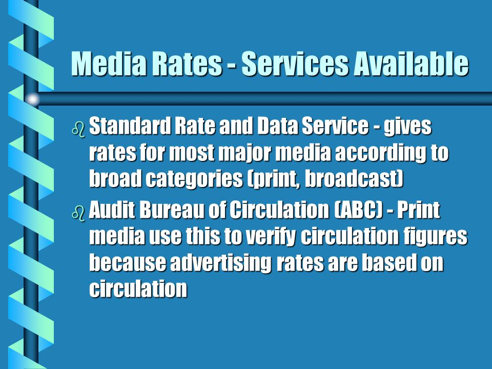 Media Rates - Services Available