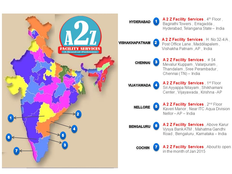 A 2 Z Facility Services , 4th Floor , Bagirathi Towers , Erragadda ,