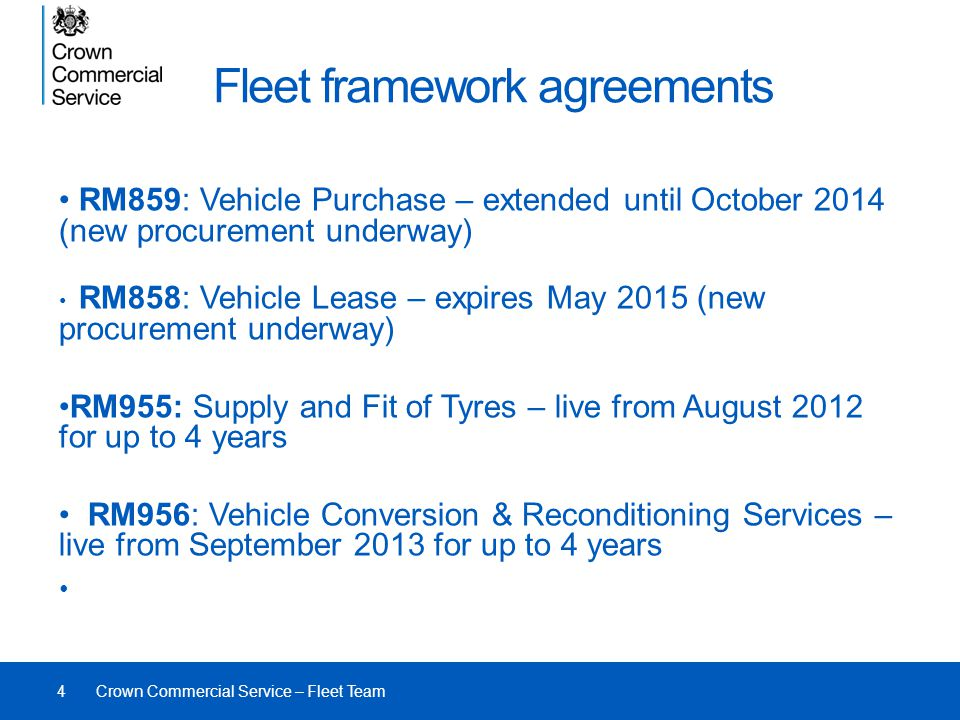 Fleet framework agreements
