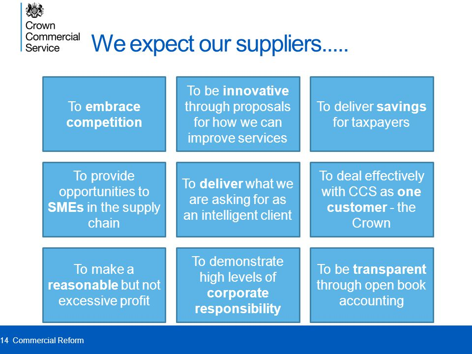 We expect our suppliers.....