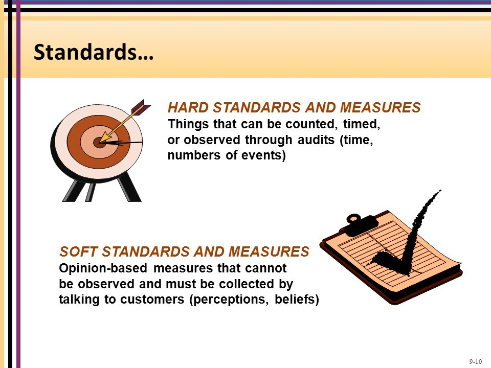 Standards… HARD STANDARDS AND MEASURES SOFT STANDARDS AND MEASURES
